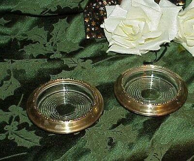 2 Vintage Amston Sterling Silver Rim Cut Glass Crystal Champagne Coasters # 120