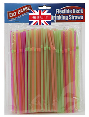 Neon Flexible Bendy Birthday Party Drinking Straws Assorted Coloured Neon