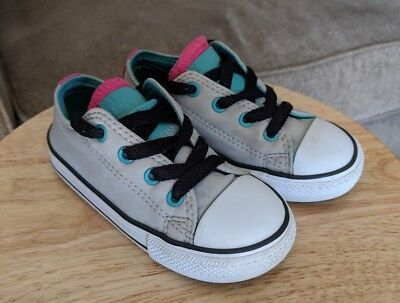 49af1332b819 CONVERSE ALL STAR Kids Girl s White Pink Canvas Double Tongue Lace ...