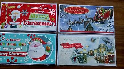 Christmas money wallets Pack of 4, Luxury Handcrafted, Santa designs & envelopes