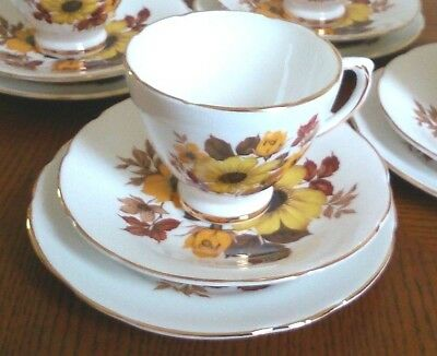 Royal-Sutherland Bone China Vintage Yellow Floral Cup Saucer & Plate Set #1