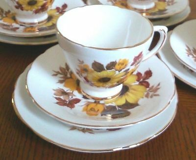 Royal-Sutherland Bone China Vintage Yellow-Floral Cup Saucer & Plate Set #4