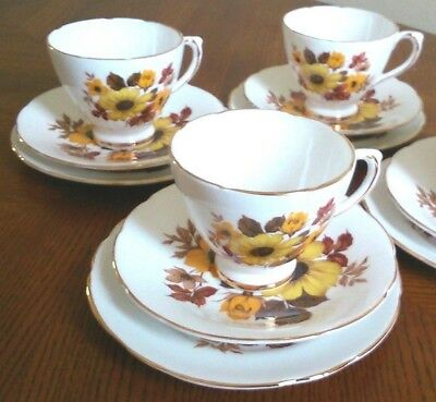 4 X Royal-Sutherland Vtge Bone China Vintage Yellow-Floral Cups Saucers & Plates