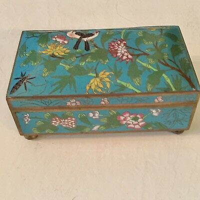 Antique Chinese Cloisonné Turquoise Enamel Floral Large Hinged Box Birds Insect