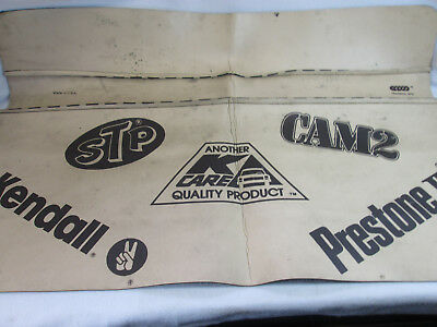 Vintage Kmart K-care automotive fender cover Prestone Cam 2, STP Kendall oil
