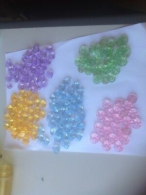 Glass looking plastic buttons x5 different shapes. Many Many Approx 130