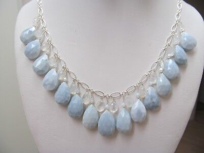 Natural Owyhee Opal W/ Moonstone Faceted Briolettes Sterling Silver Necklace Set