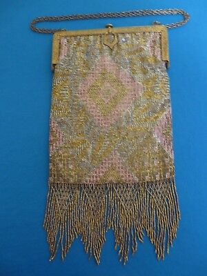 Antique Vintage French Steel Micro Beaded Fringed Purse
