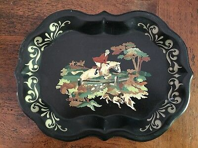 Vintage Small Fox Hunt Tole Painted Tray Excellent