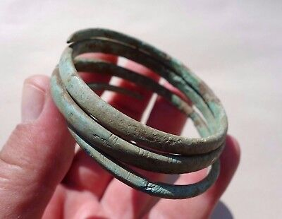 ancient Hallstatt bronze twisted in shape of snake engraved bracelet