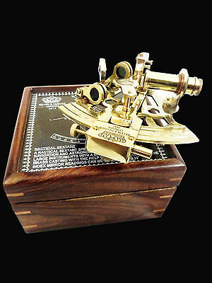 Antique Nautical Marine Style Sextant-Decorative Brass Sextant With Wooden Box