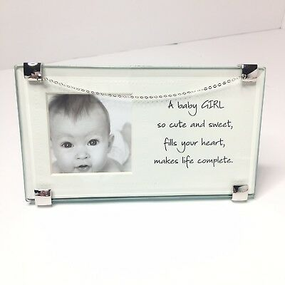 Baby Girl Picture Frame Silver Chain Keepsake New 66