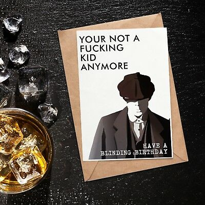 Peaky Blinders Birthday Card & Whiskey Gin Tumbler Great Gift For Him or Her
