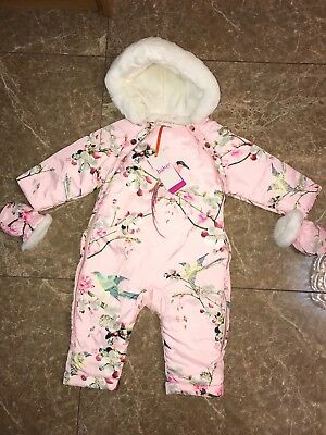 Outerwear Bnwt Ted Baker Baby Girls Pink Printed Snowsuit Coat Age 12-18 Months