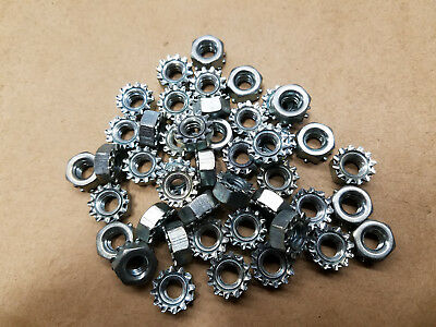 Steel Locknuts with External-Tooth Lock Washer 1/4-20 Lots Of 100pcs