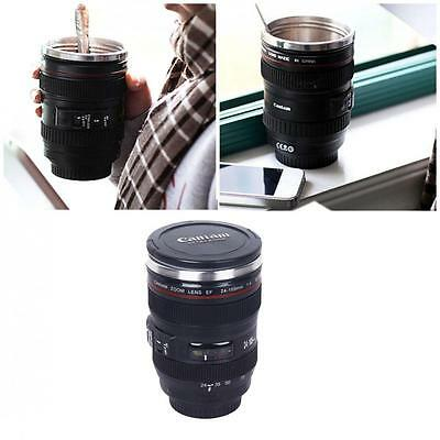 (USA) Camera Lens Stainless Steel Cup 24-105 Coffee Tea Travel Mug Thermos Lid