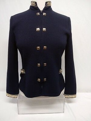 St. John Collection By Marie Gray Zip Up Cardigan Jacket Blazer Women's Sz 4