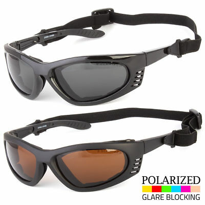 ccbb18b62d1 Men s POLARIZED Wind Resistant Padded Motorcycle Biker Sunglasses Strap  Goggles