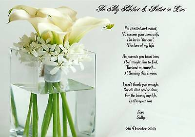 wedding day thank you gift mother and father in law poem a4 photo