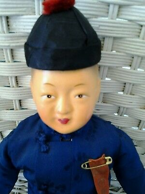 Vintage Mid-Century Chinese Boy Doll Dressed in Silk Outfit With Hat & Stand