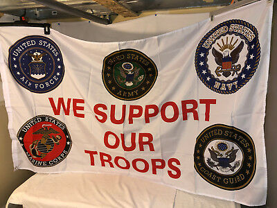 WE SUPPORT OUR TROOPS ALL MILITARY BRANCHES FLAG 3x5ft 100% POLY W/ GROMMETS