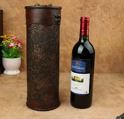 Wine Box Wooden Cylinder Vintage Single Bottle Carrier Retro Home Decor Gift Bag