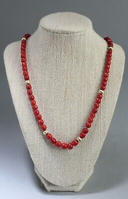 Antique Chinese Red Coral Bead Necklace