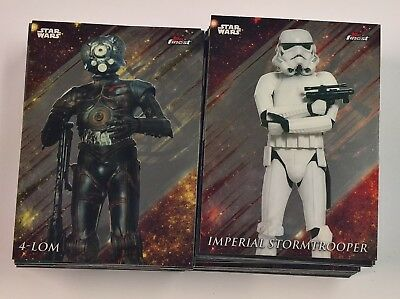 2018 Topps Star Wars Finest COMPLETE Chrome Base Set 100 Cards 1-100