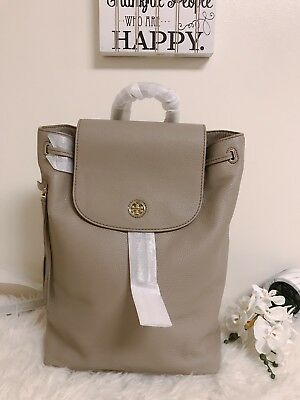 df8400b4c64e NEW TORY BURCH (43508) Brody French Gray Pebbled Leather Backpack ...