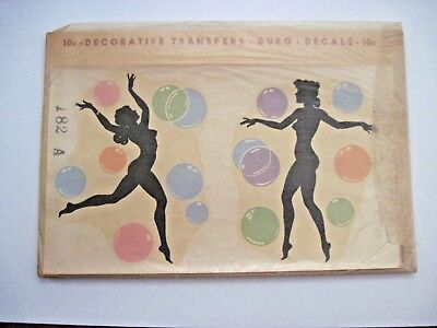 "Vintage Collectible ""Duro Decal Co."" w/ Black Silhouette Women & Bubbles"
