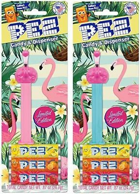 Us Limited Edition Flamingo Pez Set Of 2 - Mint On Cards W/candy - Floyd & Mabel