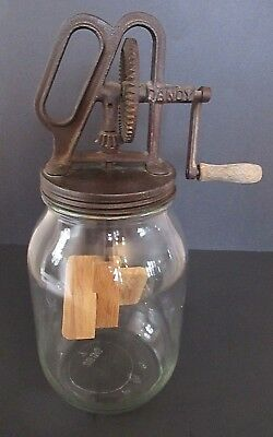 Vintage Antique Dandy Butter Churn Wood Paddle Clear Glass Jar 1 Gallon