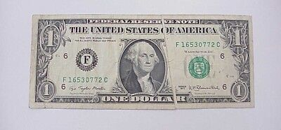 (#3) 1977 Federal Reserve Note $1 Dollar Currency Error Gutter Fold/Blank Crease
