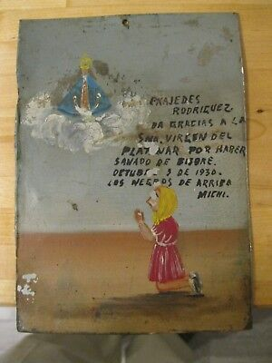 Original Antique Exvoto On Tin Dated 1930 Woman Thanking Our Lady For Favor