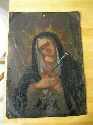 Original Antique Retablo On Tin Our Lady Of Sorrows Good Condition