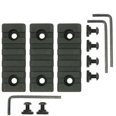 "3PCS M-Lok 5 Slot Picatinny/Weaver Rail Handguard Section Aluminum 2.5"" - Black"
