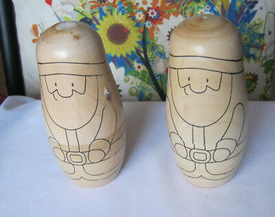 2 Santa Claus Father Xmas paint your own nesting dolls kids craft varnished
