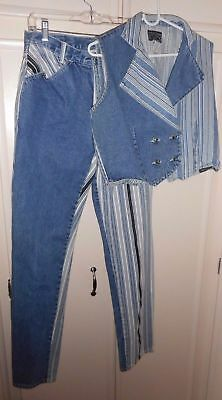 Vintage Western Ethics Jeans And Matching Vest, Size Large, Western