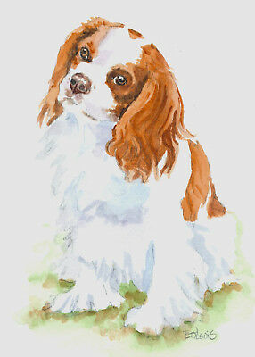 Original Watercolor Cavalier King Charles Spaniel Double Matted 8x10 Ready2Frame