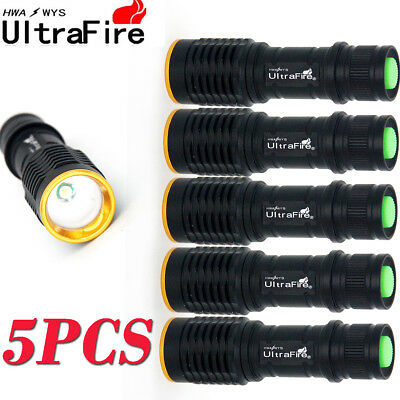 5X Ultrafire Zoomable Focus Tactical LED Flashlight T6 20000LM 3Modes Lamp Light