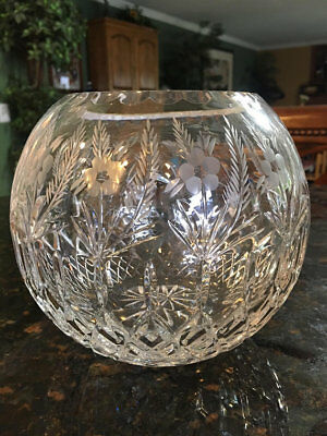 Clear Glass Bohemia Crystal Czech Cut To Clear ROSE BOWL 6 in tall ~ Etched!