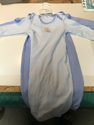 Carters 2-Pack Layette Gown, 0-3 Months- Boys- Blue- Bears- New
