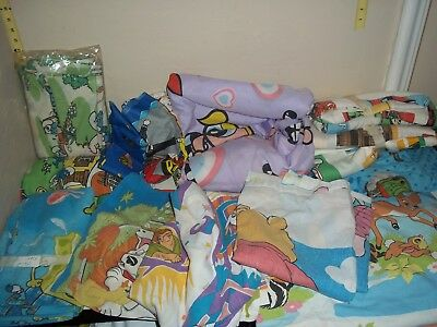 Vintage LOT Disney and other Bed Sheets Fabric mixed lot NICE! RARE