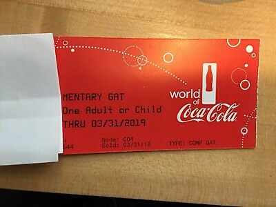 2 World Of Coca-Cola General Admission Adult Tickets EXP:3/31/19 ATL,GA
