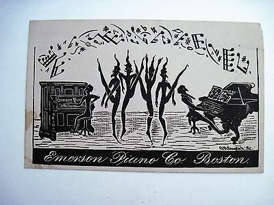 Victorian Trade Card para Emerson Piano Co. con / Weird Elves Bailando / Music