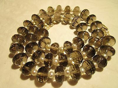 Amazing Vtg 14K Gold Genuine Smoky Topaz & Aaa Quality Cultured Pearl Necklace