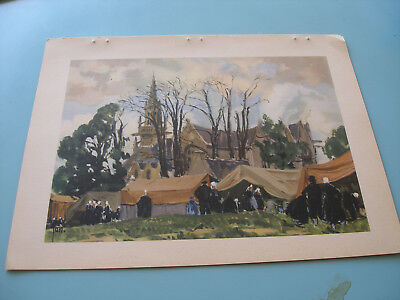 Aquarelle De Yan Offset Grapho Calco 1936 Village Breton