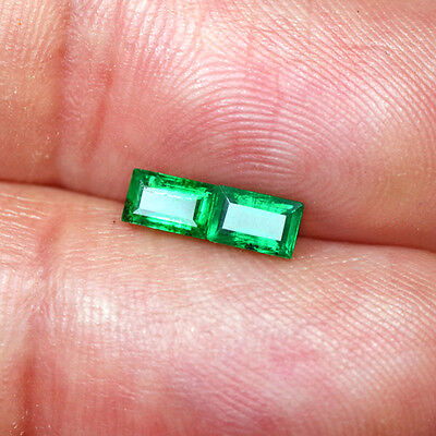 0.61 Cts Natural Emerald Green Loose 5x3 mm Gemstone baguette Cut pair Zambia $