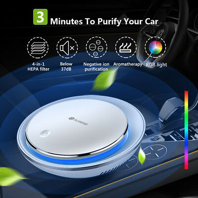 AUGIENB Ionizer Car Air Purifier True HEPA Filter RGB Light Removes Smoke/Odors