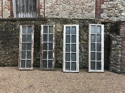 Pair of French reclaimed church windows original paint